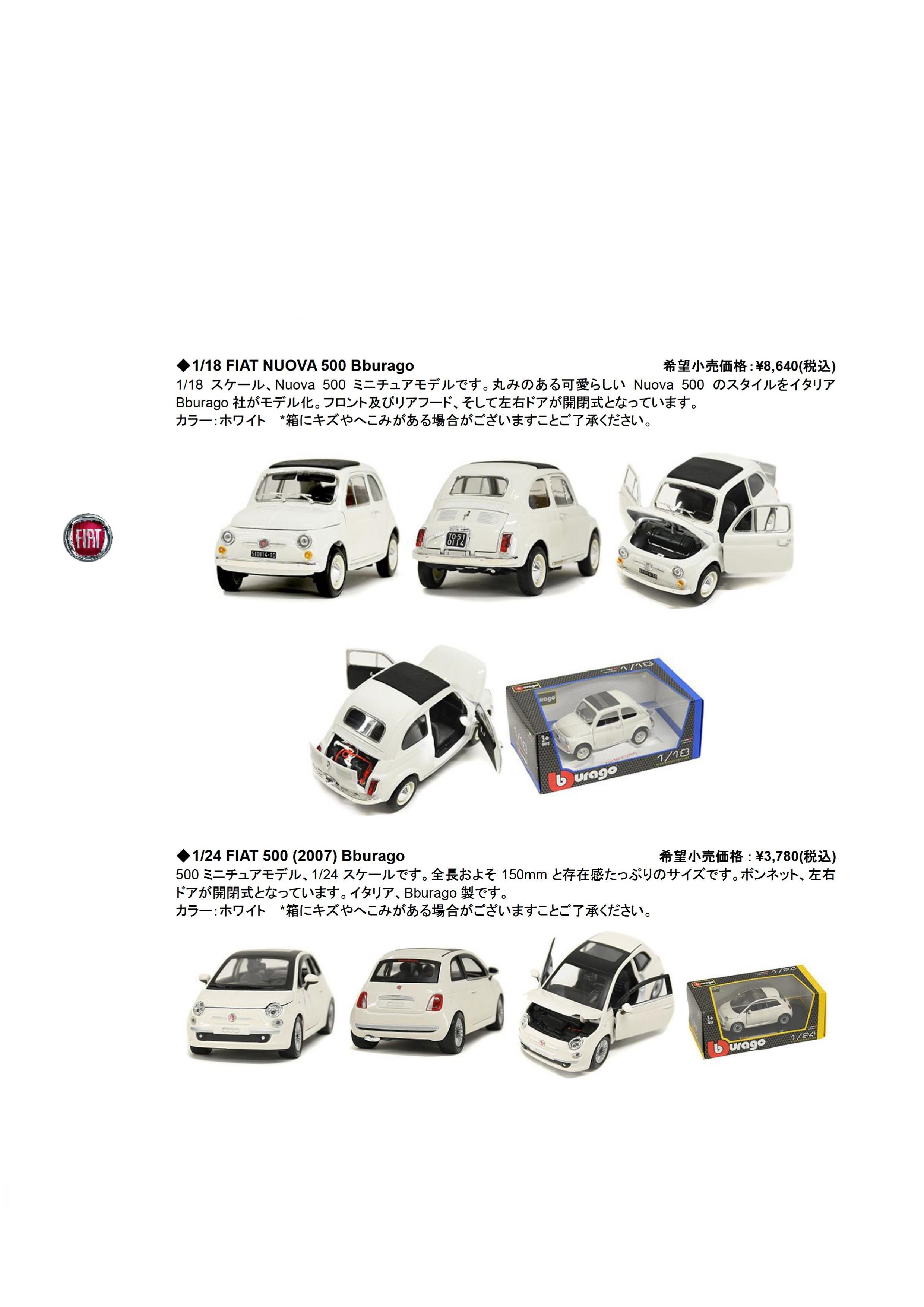 FIAT 500 ミニチュアカーのご案内